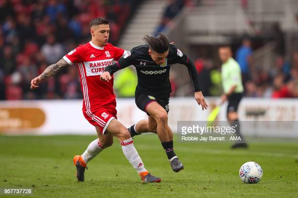 Muhamed Besic of Middlesbrough and Jack Grealish of Aston Villa during the Sky Bet Championship Play Off Semi Final First Leg match between...