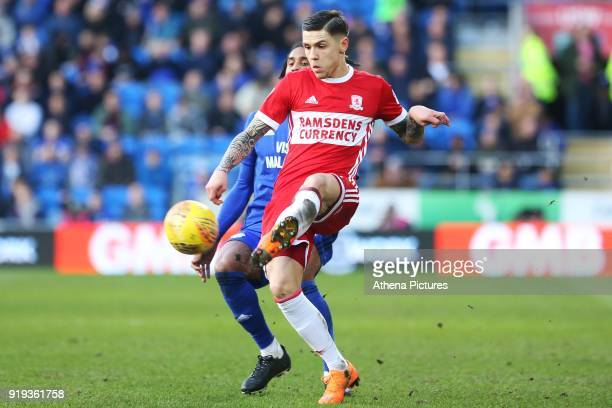 Muhamed Besic of Middlesbrough is marked by Armand Traore of Cardiff City during the Sky Bet Championship match between Cardiff City and...