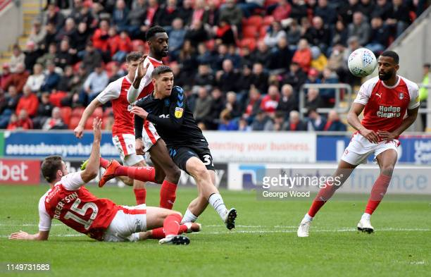 Muhamed Besic of Middlesbrough shoots at goal during the Sky Bet Championship match between Rotherham United and Middlesbrough at The New York...