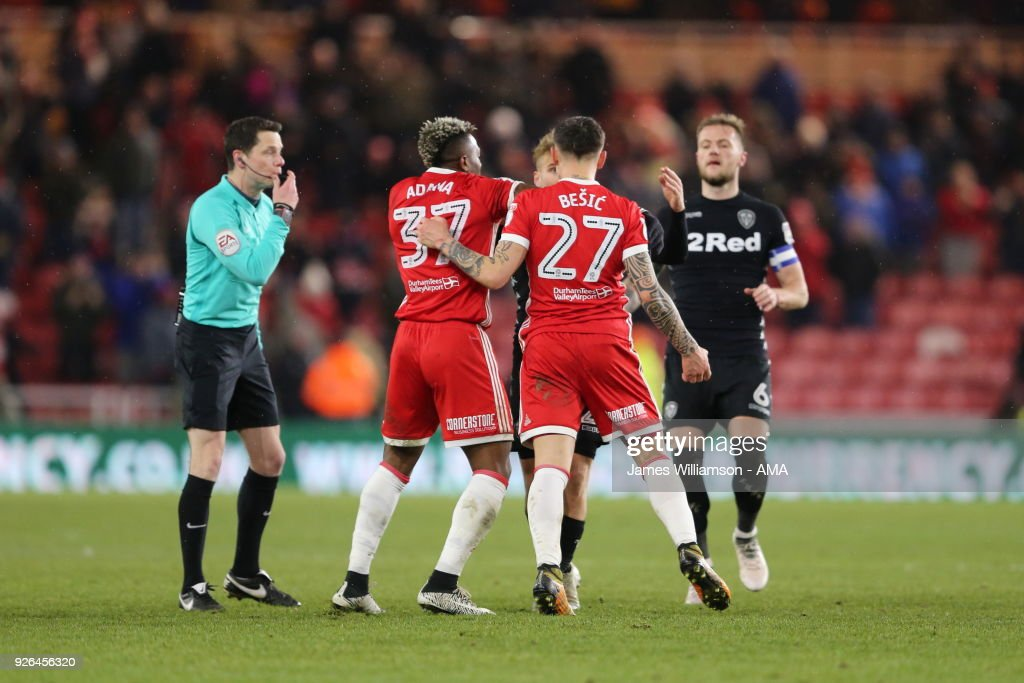 Muhamed Besic Of Middlesbrough With Ben Gibson Of