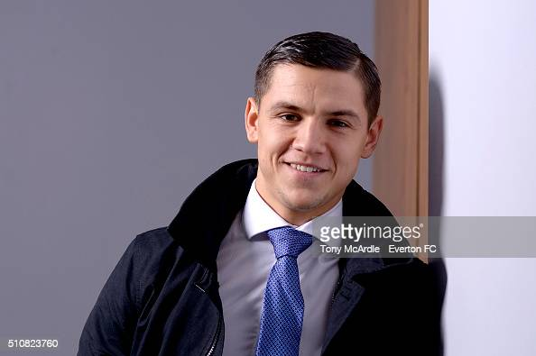 Muhamed Besic Poses During A Photo Shoot For Everton FC On