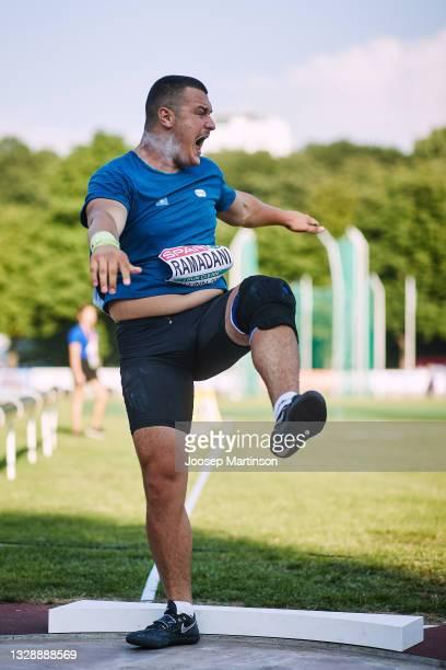 Muhamet Ramadani of Kosovo competes in the Men's Shot Put Final during European Athletics U20 Championships Day 1 at Kadriorg Stadium on July 15,...
