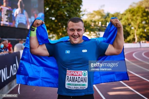 Muhamet Ramadani of Kosovo poses in the Men's Shot Put Final during European Athletics U20 Championships Day 1 at Kadriorg Stadium on July 15, 2021...