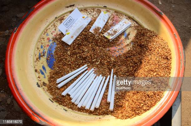 Muhammad a local vendor packaged wrapped cannabis which is popularly known as marijuana for sales in Ibafo area of Ogun State on November 292019 A...