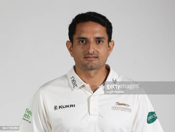 Muhammad Abbas of Leicestershire poses for a photograph during the Leicestershire County Cricket photocall held at Grace Road on April 11 2018 in...