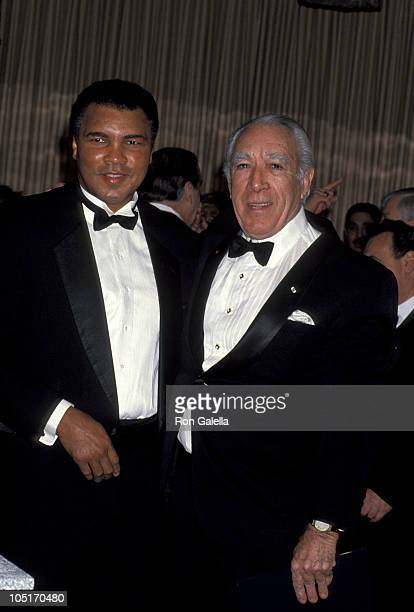 Muhammad Ali and Anthony Quinn during 8th Annual CORE Martin Luther King Awards Dinner at Sheraton Hotel in New York City New York United States