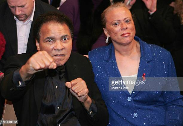 Muhammad Ali and his wife Lonnie Ali sit ringside uring the Super Middleweight fight between Laila Ali and Asa Maria Sandell at the MaxSchmeling Hall...