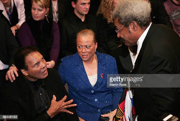 Muhammad Ali and his wife Lonnie Ali talk with boxing promoter Don King during the Super Middleweight fight between Laila Ali and Asa Maria Sandell...