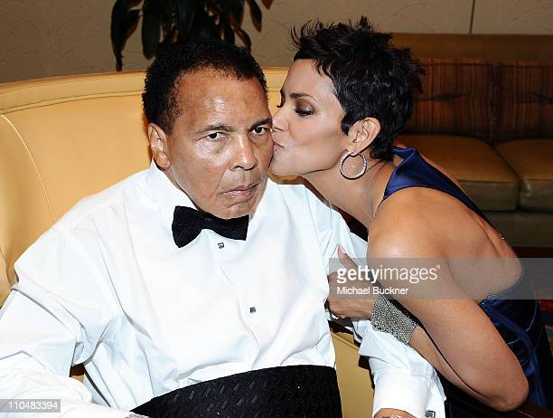 Muhammad Ali and honoree Halle Berry attend Muhammad Ali's Celebrity Fight Night XVII at JW Marriot Desert Ridge Resort Spa on March 19 2011 in...