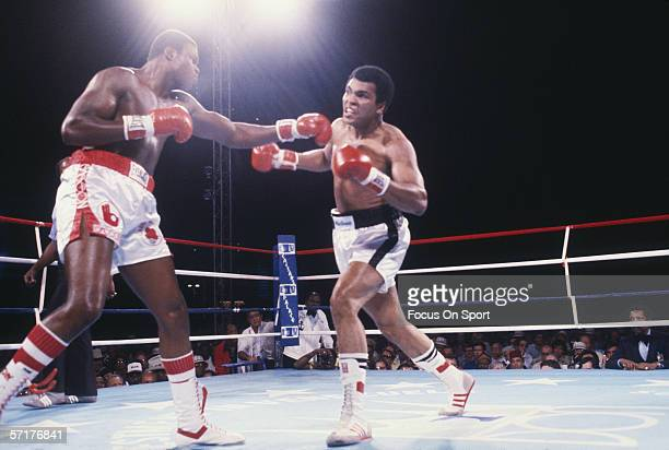 Muhammad Ali and Larry Holmes exchange punches at Ceasars Palace in Las Vegas, Nevada on October 2, 1980. Ali defeated Holmes with a TKO in round 11.