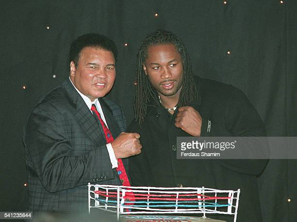 Muhammad Ali and Lennox Lewis launch the Knockout Kings 2001 boxing computer game at Sound Leicester Square whereby players assume the identities of...