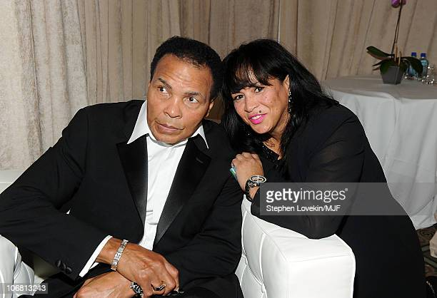 Muhammad Ali and Lonnie Ali attend the Michael J Fox Foundation's 2010 Benefit A Funny Thing Happened on the Way to Cure Parkinson's at The...