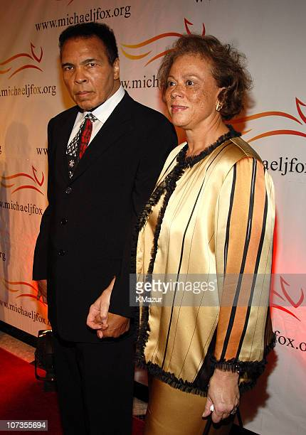 """Muhammad Ali and Lonnie Ali during """"A Funny Thing Happened on the Way to Cure Parkinson's"""" 2006 Benefit for The Michael J. Fox Foundation - Red..."""