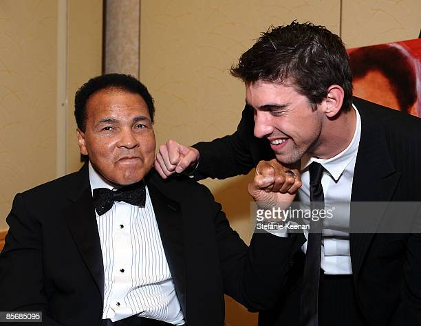 Muhammad Ali and Olympic swimmer Michael Phelps pose during Muhammad Ali's Celebrity Fight Night XV held at the JW Marriott Desert Ridge Resort Spa...