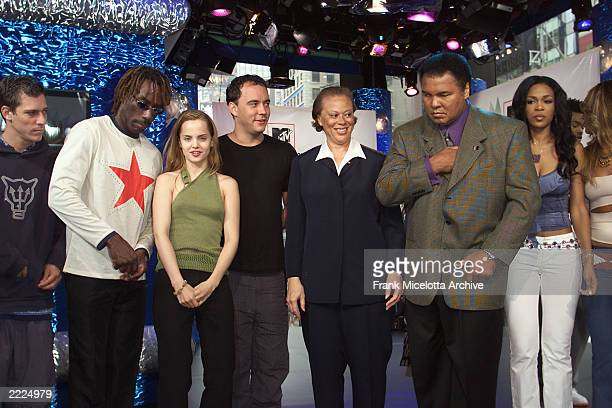 Muhammad Ali and wife Lonnie with The Dave Matthews Band Mena Suvari and Destiny's Child at the press conference for MTV's YearLong ProSocial...