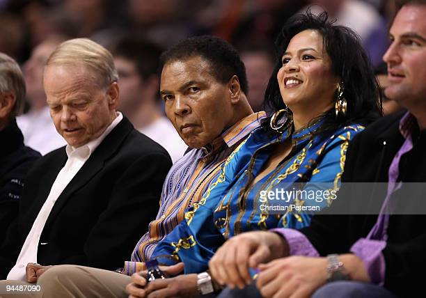 Muhammad Ali and wife Yolanda Ali attend the NBA game between the San Antonio Spurs and the Phoenix Suns at US Airways Center on December 15 2009 in...