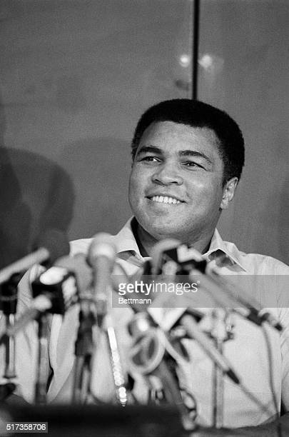 Muhammad Ali at a press conference after his hospitalization for Parkinson's Disease.