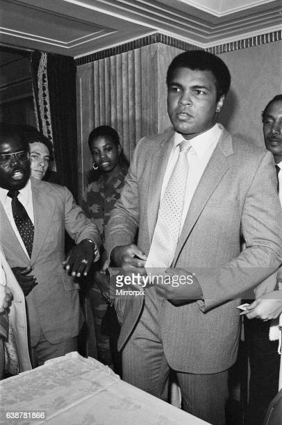 Muhammad Ali at a press conference ahead of his upcoming fight against World heavyweight champion Trevor Berbeck 3rd September 1981