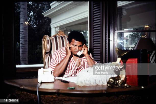 Muhammad Ali at home in Los Angeles before his last fight with Larry Holmes August 3 1980 Hancock Park Los Angeles California
