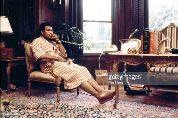 Muhammad Ali at home in Los Angeles before his last fight with Larry Holmes is it a real cat or a toy cat under the table bottom left of the room...