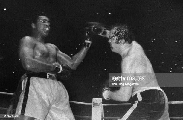 Muhammad Ali blocks the right hook from Chuck Wepner during the fight at Richfield Coliseum on March 241975 in ClevelandOhio Muhammad Ali won the WBC...