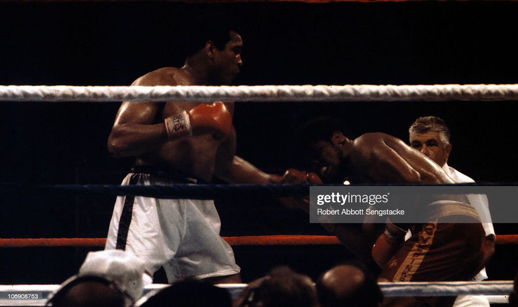 Muhammad Ali (L) catches Leon Spinks (R) with a left during the WBA Heavyweight Title fight at the Louisiana Superdome, in New Orleans, LA, 1978. Ali defeated the younger Spinks in this rematch, and regained the title.