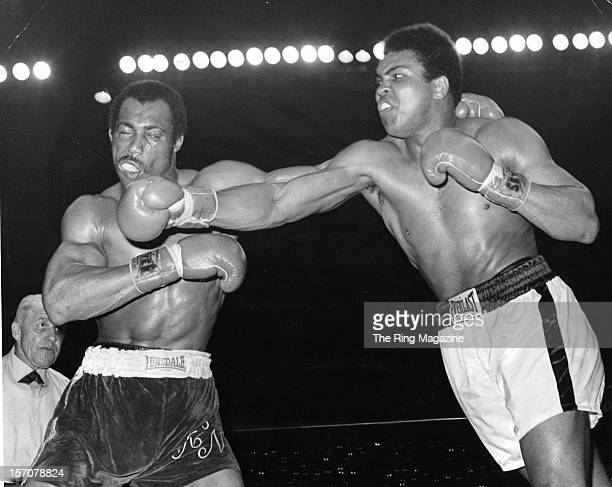 Muhammad Ali connects a right punch against Ken Norton during the fight at the Sports Arena on March 311973 in San DiegoCalifornia Ken Norton won the...