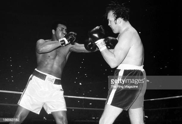 Muhammad Ali connects with a left hook to Chuck Wepner during a fight at Richfield Coliseum on March 24 1975 in Richfield Ohio Muhammad Ali won both...