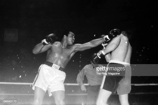 Muhammad Ali connects with a left punch against Chuck Wepner during a fight at Richfield Coliseum on March 24, 1975 in Richfield, Ohio. Muhammad Ali...