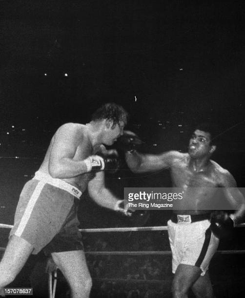 Muhammad Ali connects with a right hook against Chuck Wepner during the fight at Richfield Coliseum on March 24,1975 in Cleveland,Ohio. Muhammad Ali...