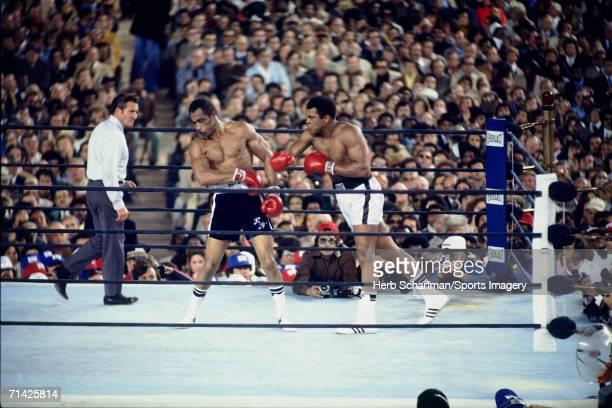 Muhammad Ali defeats Ken Norton in Yankee Stadium on September 28 1976 in the Bronx New York