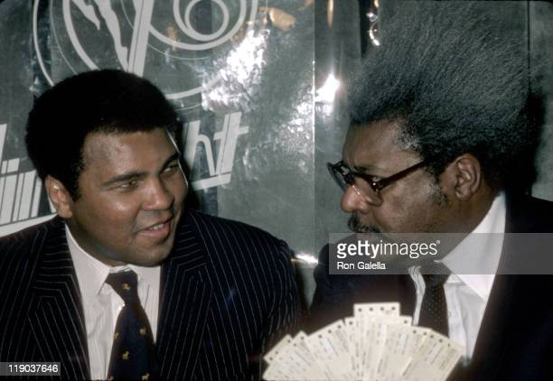 Muhammad Ali Don King during Press Conference Announcing World Heavyweight Championship Fight at Limelight Disco in Atlanta GA United States