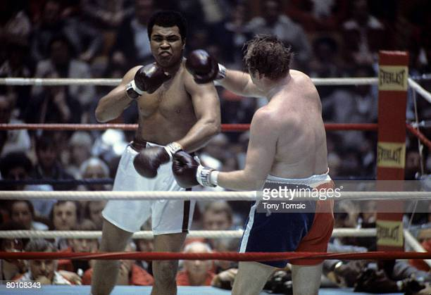Muhammad Ali fights Chuck Wepner on march 24, 1975 in Cleveland, Ohio.