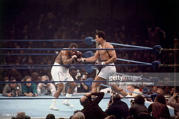 Muhammad Ali fights Joe Frazier in a heavyweight fight at Madison Square Garden on January l974. Ali won in 12 rounds.