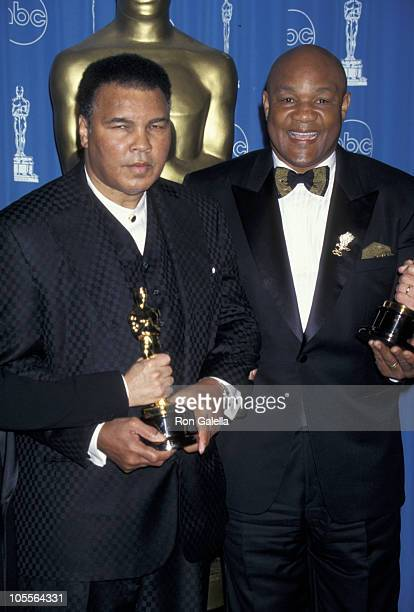 Muhammad Ali George Foreman during The 69th Annual Academy Awards Press Room at Shrine Auditorium in Los Angeles California United States