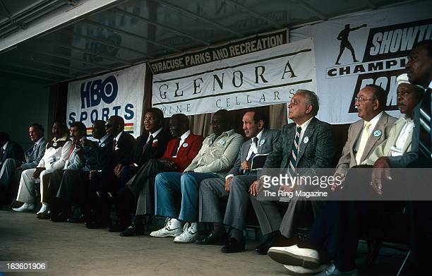 Muhammad Ali Ike Williams Kid GavilanWillie Pep Jake LaMotta Carmen Basilio Archie Moore and Bob Foster on stage during the 1990 Boxing Hall of Fame...