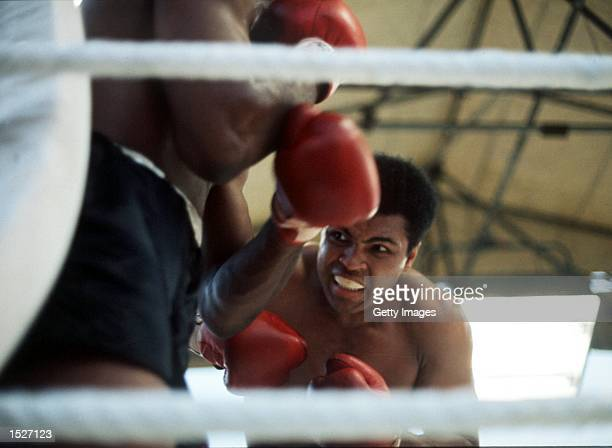Muhammad Ali in action against Al 'Blue' Lewis during a Heavyweight fight at Croke Park July 19, 1972 in Dublin, Ireland. Mandatory Credit: Don...