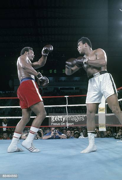 Muhammad Ali in action throw a punch at George Foreman in the Heavyweight Championship fight October 30 1974 in Kinshasa Zaire Ali won and got back...