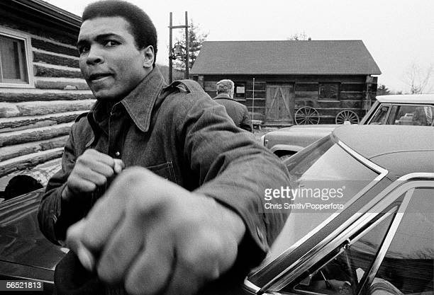 Muhammad Ali in training for his second fight against Joe Frazier at Deer Lake Pennsylvania on 24th January 1974 Ali won the nontitle boxing match by...