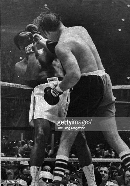 Muhammad Ali is backed in the ropes by Chuck Wepner during the fight at Richfield Coliseum on March 24,1975 in Cleveland,Ohio. Muhammad Ali won the...