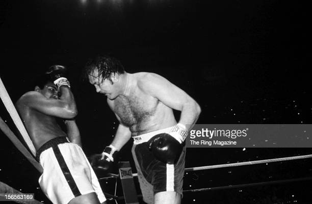 Muhammad Ali is backed up to the rope by Chuck Wepner during a fight at Richfield Coliseum on March 24, 1975 in Richfield, Ohio. Muhammad Ali won...