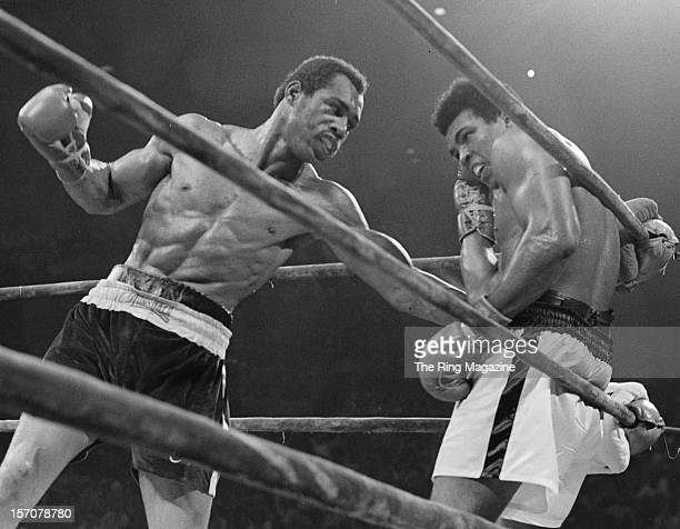 Muhammad Ali is hit with a left hook by Ken Norton during the fight at the Forum on September 101973 in Inglewood California