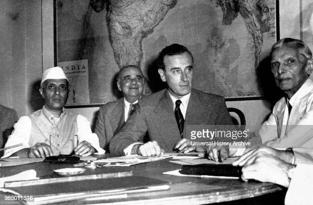 Muhammad Ali Jinnah Lord Mountbatten and Pandit Nehru discuss partition of India 1946