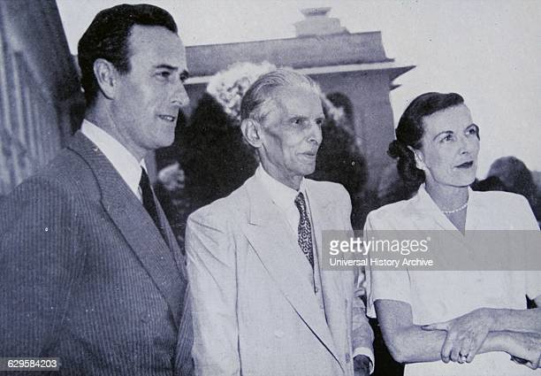Muhammad Ali Jinnah meets the British Viceroy Lord Mountbatten and Lady Mountbatten in Delhi India April 1947