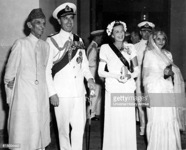 Muhammad Ali Jinnah politician and the founder of Pakistan with Lord and Lady Mountbatten and Fatima Jinnah