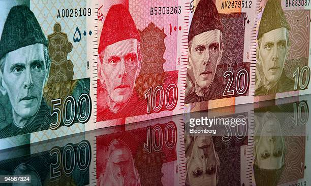Muhammad Ali Jinnah the founder of Pakistan is seen on Pakistani rupees arranged for a photograph in Karachi Pakistan on Tuesday July 10 2007 State...