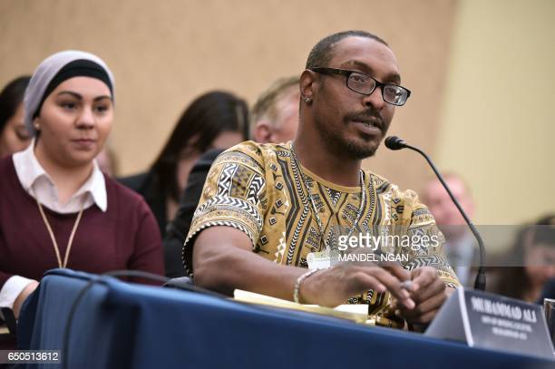 Muhammad Ali Jr son of boxing legend Muhammad Ali speaks during a forum on the consequences of US President Donald Trump's immigration policies at...