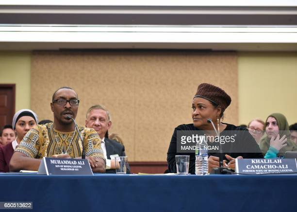 Muhammad Ali Jr son of boxing legend Muhammad Ali speaks watched by his mother Khalilah CamachoAli during a forum on the consequences of US President...