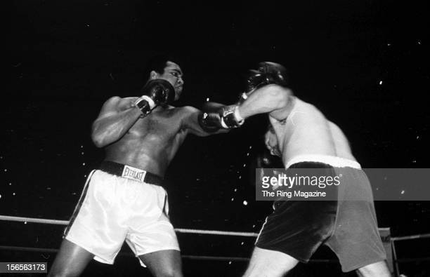 Muhammad Ali lands a left punch against Chuck Wepner during a fight at Richfield Coliseum on March 24, 1975 in Richfield, Ohio. Muhammad Ali won both...