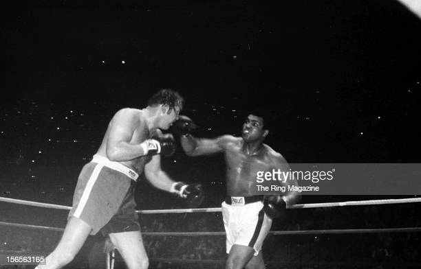 Muhammad Ali lands a punch to Chuck Wepner during a fight at Richfield Coliseum on March 24 1975 in Richfield Ohio Muhammad Ali won both the WBC...